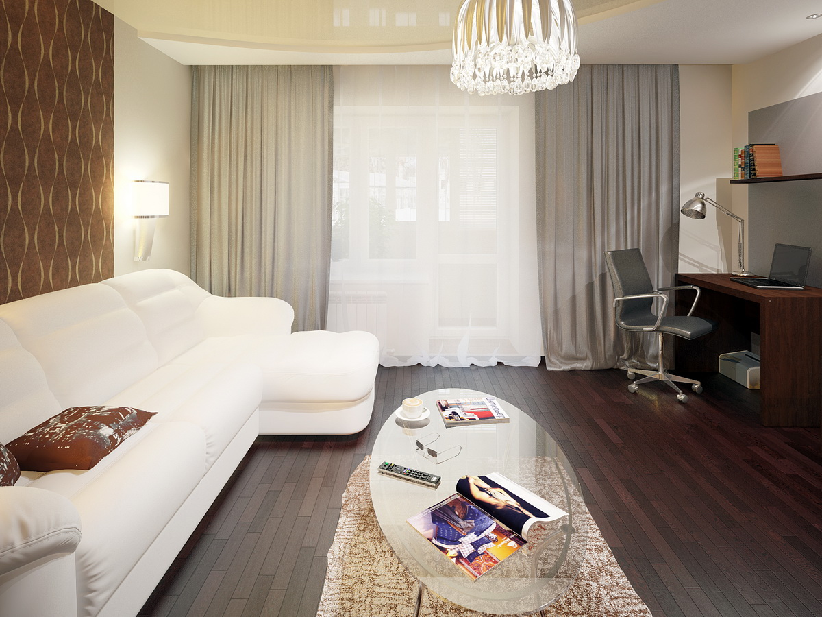 Дизайн спальни с диваном угловым
